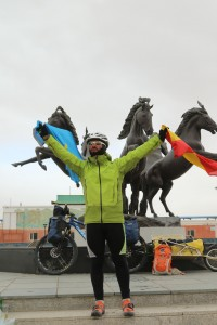 Foto éxito Mongolia 2017 dos banderas